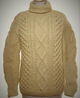 Aran turtleneck wool sweater