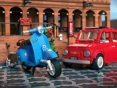 Vespa meets Fiat 500 F! (ZetoVince) Tags: lego vespa zeto vince zetovince greek vehicle car italian wasp fiat classic retro moc piaggio cuusoo ideas render mecabricks