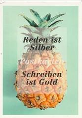 postcrossing - postcard (Jessman Green) Tags: pineapple slogan fresh fruit