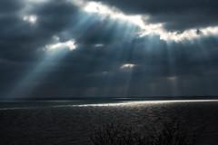 STORM BREWING (michael.smith86) Tags: panasonic fz1000 light clouds sunbeams sea bridlington bridgecompact shafts rays
