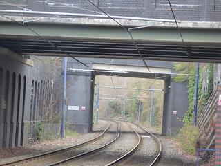 Bilston Central Tram Stop - under the Church Street Bridge towards the Walsall Street Bridge