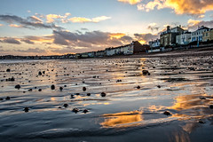 Down on the beach (Peter Leigh50) Tags: beach sea seascape seaside weymouth shore sand wet reflection pebble house building sky skyscape clouds landscape evening late afternoon winter january dorset fuji xt10 fujifilm