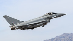 """Eurofighter Typhoon FGR4 of RAF No 6 Squadron, """"The Flying Can Openers"""", from RAF Lossiemouth (Norman Graf) Tags: zk337 militaryexercise aircraft lsv p5ctstcts airplane klsv eurofighter fgr4 raf aircombatmaneuverinstrument no6squadron military ordnance nellisafb redflag171 typhoon oculiexercitus theeyesofthearmy theflyingcanopeners acmi canard combattrainingsystem deltawing fp fighter jet plane raflossiemouth royalairforce tacticalcombattrainingsystem"""