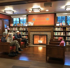 Cozy At the Public Library (Melinda Young Stuart) Tags: fireplace fire warm chairs library libslibs reading paper architecture afternoon mantel books shelves windows brick decoration shakespeare man sitting cozy winter explore