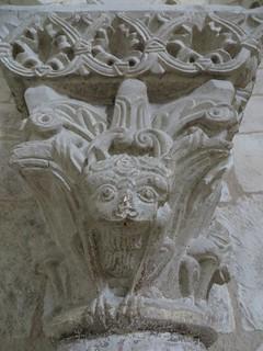Lions affamés, choeur de l'église romane, St Blaise (XIIe-XIIIe), Lacommande, Béarn, Pyrénées-Atlantiques, Nouvelle-Aquitaine, France.