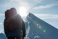 Warm Welcome (deletio) Tags: sun 2017 d700 people mountains aisnikkor50mmf14 sunspots snow white hikers montblanc courmayeur valledaosta italy fr