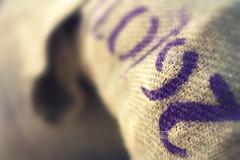 A subtle amount of texture attracts the eye. (Dikke Biggie.) Tags: 52in2018 45texture texture textuur closeup detail macro canon canoneos450d 50mm f14 dof depthoffield scherptediepte bokeh purple paars burlapsak jutezak jute burlap museumvoorlinden wassenaar canonnl dgawc