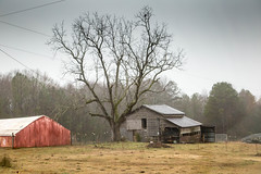 Barn - Anderson Co., S.C. (DT's Photo Site - Anderson S.C.) Tags: canon 6d 24105mml lens andersonsc upstate southcarolina rural country farm barn road red shed pasture pastoral vintage vanishing southernlife scenic disappearing southern america usa landscape fog rain mist weather cloudy
