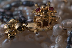 #MacroMondays #fasteners (Mari Van Cauteren) Tags: jewel pearls gold dragon macromondays fasteners