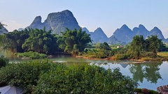 One of the most beautiful places of the world! View from the hotel. You can see the Rabbit Hill. Breathtaken! Yangshuo, Guangxi. (Anja Timmermans) Tags: yangshuo guangxi china mountainretreat yangshuomountainretreat rabbithill river rivier