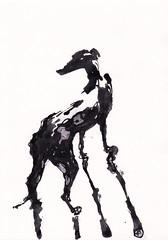 Nico - Year of the Dog [20180216] (rodneyvdb) Tags: abstracted animal art blackandwhite bw chinesenewyear contemporary dog drawing expression expressionism figurative greyhound illustration ink modern painting sketch yearofthedog