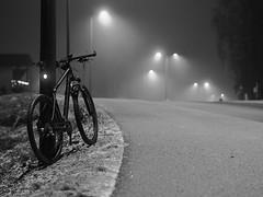 2018 Bike 180: Day 10, January 10 (olmofin) Tags: 2018bike180 finland espoo bicycle polkupyörä sumu fog dawn hämärä aamu morning 29er mtb maastopyörä nastarenkaat studded mzuiko 45mm f18 bw lintumetsä konala vanha hämeenkyläntie