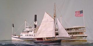 Port stern view of fisherman and steamer Nantucket c.1887 -Rex Stewart