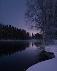 Winter Night (laurilehtophotography) Tags: kapeenkoski talvi2018 suomi finland winter landscape snow ice water reflection stars stream river trees forest nikon d610 sigma 20mm art night sky longexposure 2018 amazing europe