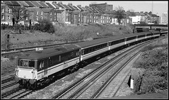 73211, Clapham (Jason 87030) Tags: ed 73211 intercity br britishrail electric gatwickexpress gatex claphamjunction london 1995 express train service working maech tracks shot railway bw bbw black white noir blanc framed border houses lines composition light