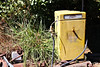 Petrol Bowser (Victoria) (IDH Mackinnon) Tags: petrol bowser pump victoria australia 2017 victorian australian yellow gasoline old historic vintage fading rusty rusting