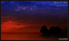 Elaborazione su un tramonto di Febbraio-2018 (agostinodascoli) Tags: elaborazionedigitale agostinodascoli nikon nikkor cianciana sicilia texture nature landscape paesaggi tramonto sunset monti cielo rosso azzurro nuvole art digitalart digitalpainting photoshop photopainting colore fullcolor alberi
