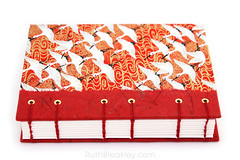 Red Crane Japanese Paper Journal with Unlined Pages handmade by Ruth Bleakley - 3 (MissRuth) Tags: chiyogami handmadejournal unlinedjournal ruthbleakley bookart handmadebook handbound chiyogamijournal cranesjournal redjournal blankbook bookartist bookbinding