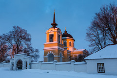 Old Russian Church at Sunset. (Oleg.A) Tags: sunny penzaregion church nature frost orange snow chapelle tree forest orthodox architecture cross saintmichaelthearchangelchurch landscape russia courtyard brick outdoor rural evening villiage blue colorful interior cathedral building dome bell tarkhany purple mikhaillermontov winter old sunset materials