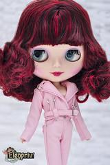 She is such a cutie!!! (elenpriv) Tags: blythe doll elenpriv elena peredreeva handmade clothes fashion pink leather jacket pants
