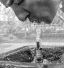 thirsty (Sławomir Ostrowski (Kistry)) Tags: georgia tibilisi thirsty people monochrome water rx100mk3 portrait