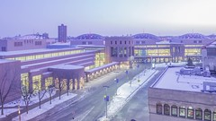 Minneapolis Convention Center 4K Timelapse (Sam Wagner Photography) Tags: color colorful decorative illumination light dome blue twilight dusk winter downtown minneapolis traffic transit road street bus long exposure car trails modern architecture high wide angle scrolling lights 4k uhd time lapse timelapse