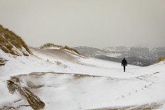 snowy day in the dunes (ylemort) Tags: snow winter nature outdoors men mountain people coldtemperature walking sport hiking adventure ice oneperson landscape extremesports white scenics solitude hill everypixel dune dunes belgique belgium kust koksijde