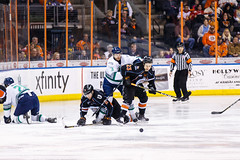 """Kansas City Mavericks vs. Florida Everblades, February 18, 2018, Silverstein Eye Centers Arena, Independence, Missouri.  Photo: © John Howe / Howe Creative Photography, all rights reserved 2018 • <a style=""""font-size:0.8em;"""" href=""""http://www.flickr.com/photos/134016632@N02/40387907661/"""" target=""""_blank"""">View on Flickr</a>"""