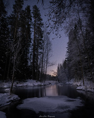 River. (laurilehtophotography) Tags: kapeenkoski talvi2018 suomi finland river stream winter ice snow water nature landscape nightscape night stars longexposure trees forest light shadow nikon d610 sigma 20mm art amazing europe outdoor wideangle