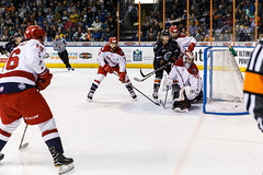 "Kansas City Mavericks vs. Allen Americans, February 24, 2018, Silverstein Eye Centers Arena, Independence, Missouri.  Photo: © John Howe / Howe Creative Photography, all rights reserved 2018 • <a style=""font-size:0.8em;"" href=""http://www.flickr.com/photos/134016632@N02/40458459862/"" target=""_blank"">View on Flickr</a>"
