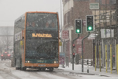 Through the snow: Cowbridge Road, Canton, south Wales (Dai Lygad) Tags: cardiffbus buses publictransport snow eira weather winter wintry march 2018 cowbridgeroadeast southwales snowfall wales cymru uk unitedkingdom greatbritain attributionlicense attributionlicence freetouse photos photographs images pictures jeremysegrott canon 80d eos stock cn57bke doubledecker green orange geotagged flickr stormemma cold freezing city britain dailygad british caerdydd