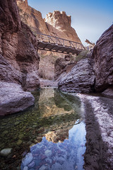 Bridge Art (Modeflip) Tags: mountains water rocks desert sky black white arizona apache trail