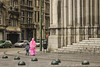 Pink Accent (photography4sale) Tags: woman walking street streetphotography pink brussels belgium cathedral church green gray geometrical composition