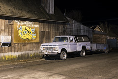 The Friendliest Place In Town (Curtis Gregory Perry) Tags: dufur oregon ford truck pickup 1966 1965 1964 1963 1962 1961 old night long exposure sign friendliest place town nikon d810 f250 trailer horseshoe money 4x4