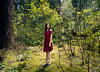 (Wendy Lu.) Tags: wendylu canon5d shoreline trails coquitlam forest nature red dress standing walking asian female portrait landscape sunlight sun rays
