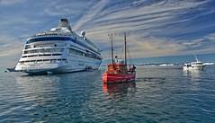 Ilulissat - Grönland (kh goldphoto) Tags: ilulissat polarice icefjord glacierice icewater arcticice polarkreis aidacara hafen fischerboote fishermanboat reede grönland greenland eisberge eis eisblau gletschereis diskobay diskobucht port cruiseships arcticcruise fischerboot arcticocean