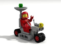 Little Radar Rover (David Roberts 01341) Tags: lego ldd povray classicspace scifi rover buggy vehicle minfigure redspaceman febrovery
