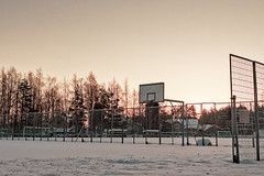Basketball Field Covered with Snow (k009034) Tags: 500px field sky sunset winter snow fence town abandoned iron detail hoop basketball covered no people court finland tranquil scene copy space oulainen teamcanon
