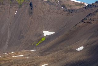 Heart shaped snow by the path of Hestsskarð, Siglufjörður, Iceland