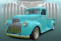 Rockin' Robin Egg Blue - 1941 Chevy Pickup (Brad Harding Photography) Tags: 1941 41 chevy chevrolet pickup utility antique chrome robineggblue olmaraisriverruncarshow ottawa kansas truck carshow grille bowtie classic restoration restored