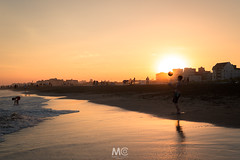 Playing during sunset (Mariano Colombotto) Tags: pinamar argentina beach sunset sun sol travel sand silhouttes summer verano reflection atardecer ngc
