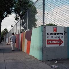 Secrets (ADMurr) Tags: la hollywood secrets parking wall fence sky tree rolleiflex 35 kodak portradaa786