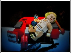 When The Bat's Away (LegoKlyph) Tags: lego custom batman joker dc comics brick block mini figure geek sad drunk