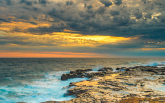 Sunrise Seascape (Merrillie) Tags: daybreak sunrise nature water rocky centralcoast morning sea newsouthwales rocks earlymorning nsw outdoors avocabeach ocean landscape waterscape cloudy coastal clouds sky seascape australia coast dawn waves