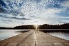 Three-way race. (lebramlett721) Tags: nikon d750 sky wideangle girl dogs race running childhood lake