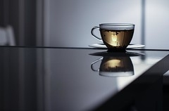 Last Tea of the Day (haberlea) Tags: home athome cup tea herbaltea light evening table reflection glass drink