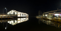 Darkness and Light (Keith Midson) Tags: tasmania hobart brookestpier pier night evening reflection derwentriver water murraystpier