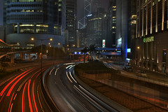 hong kong streets (Greg Rohan) Tags: automobile cars traffic roads road architecture building buildings street streetlights nightphotography night traillight lights hongkong hk china asia d7200 2017 nikkor nikon city skyscrapers skyscraper