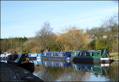Wintery sunshine. (Country Girl 76) Tags: canal leeds liverpool skipton narrow boats water reflections footpath trees sky ducks