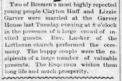 1892 - Clayton Huff marries Elizabeth Garver - Enquirer - 12 Aug 1892